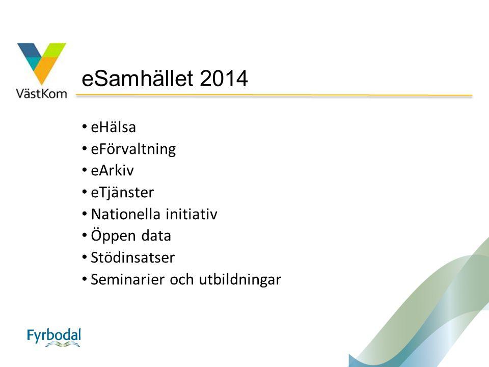 eSamhället 2014 eHälsa eFörvaltning eArkiv eTjänster Nationella initiativ Öppen data Stödinsatser Seminarier och utbildningar