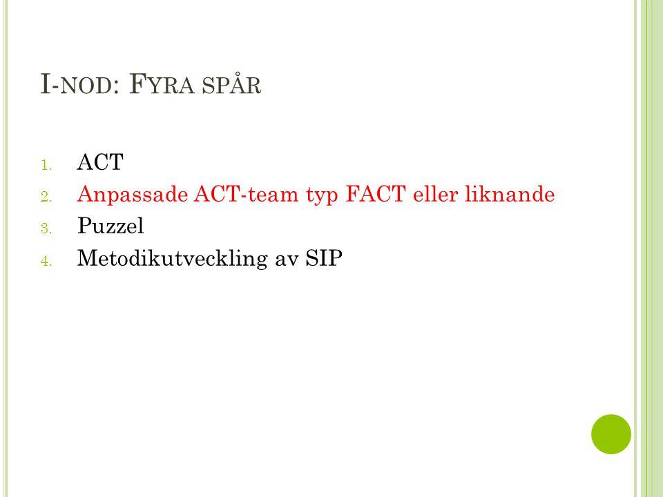 I- NOD : F YRA SPÅR 1. ACT 2. Anpassade ACT-team typ FACT eller liknande 3.