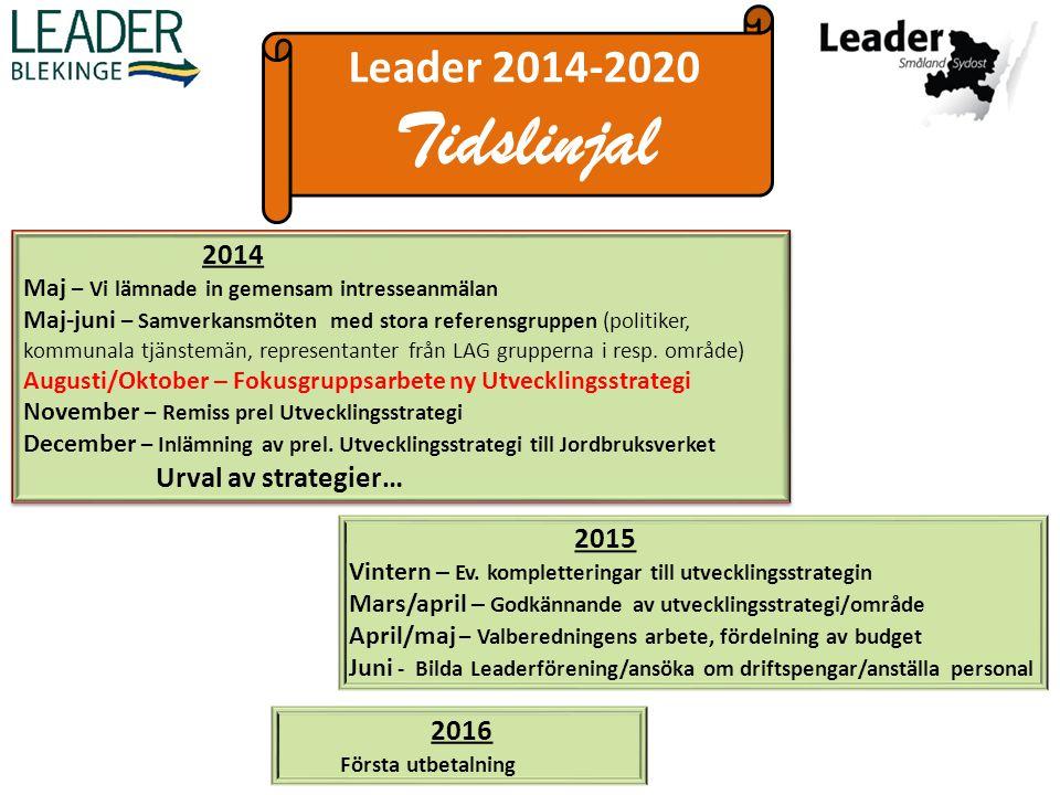 Leader 2014-2020 Tidslinjal 2014 Maj – Vi lämnade in gemensam intresseanmälan Maj-juni – Samverkansmöten med stora referensgruppen (politiker, kommunala tjänstemän, representanter från LAG grupperna i resp.