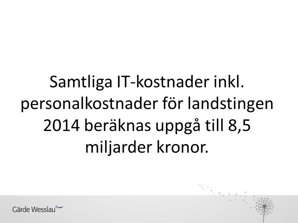 Samtliga IT-kostnader inkl. personalkostnader för landstingen 2014 beräknas uppgå till 8,5 miljarder kronor.