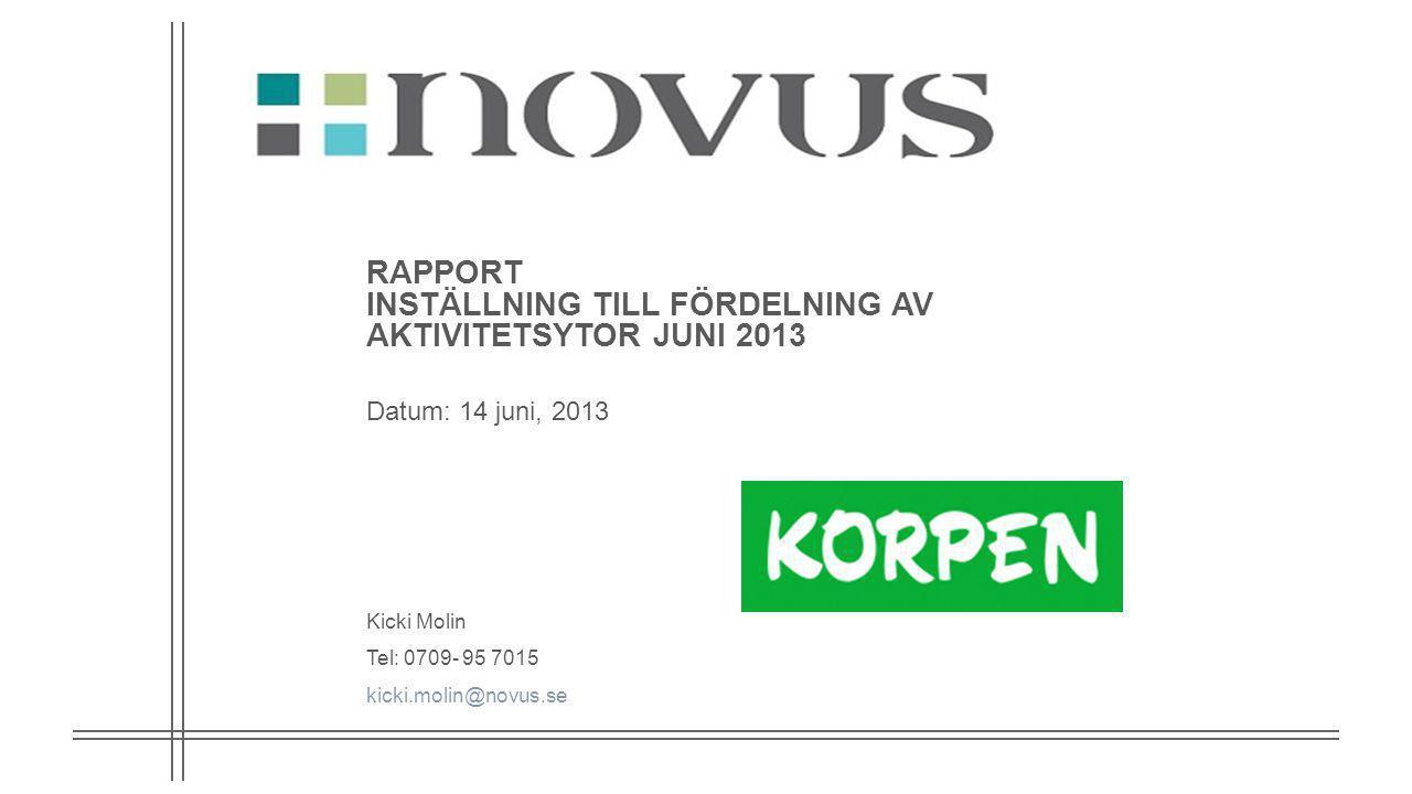 RAPPORT INSTÄLLNING TILL FÖRDELNING AV AKTIVITETSYTOR JUNI 2013 Datum: 14 juni, 2013 Kicki Molin Tel: 0709- 95 7015 kicki.molin@novus.se