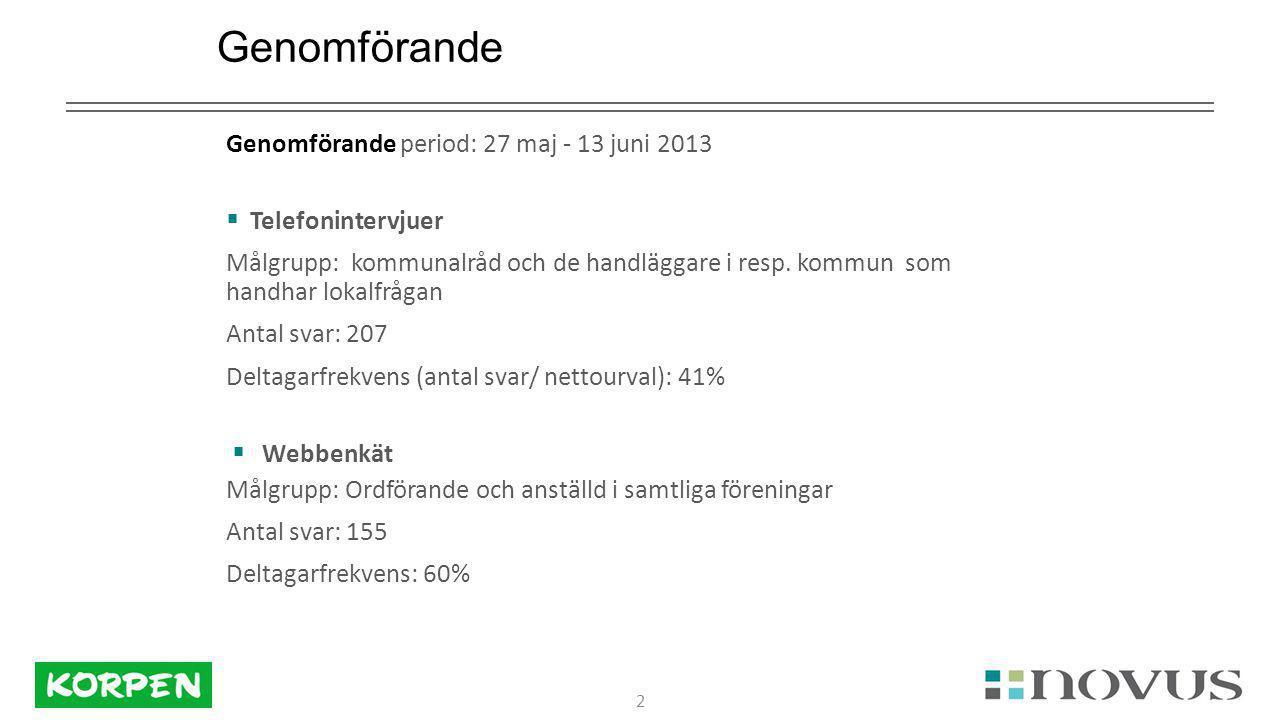 2 Genomförande Genomförande period: 27 maj - 13 juni 2013  Telefonintervjuer Målgrupp: kommunalråd och de handläggare i resp.