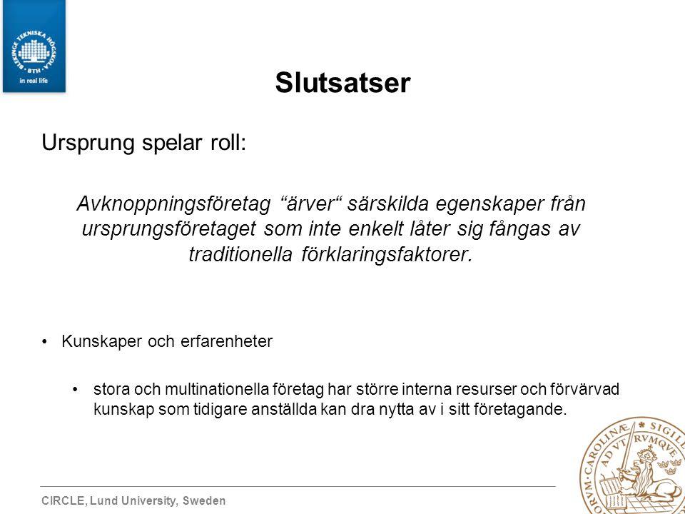 """CIRCLE, Lund University, Sweden Slutsatser Ursprung spelar roll: Avknoppningsföretag """"ärver"""" särskilda egenskaper från ursprungsföretaget som inte enk"""