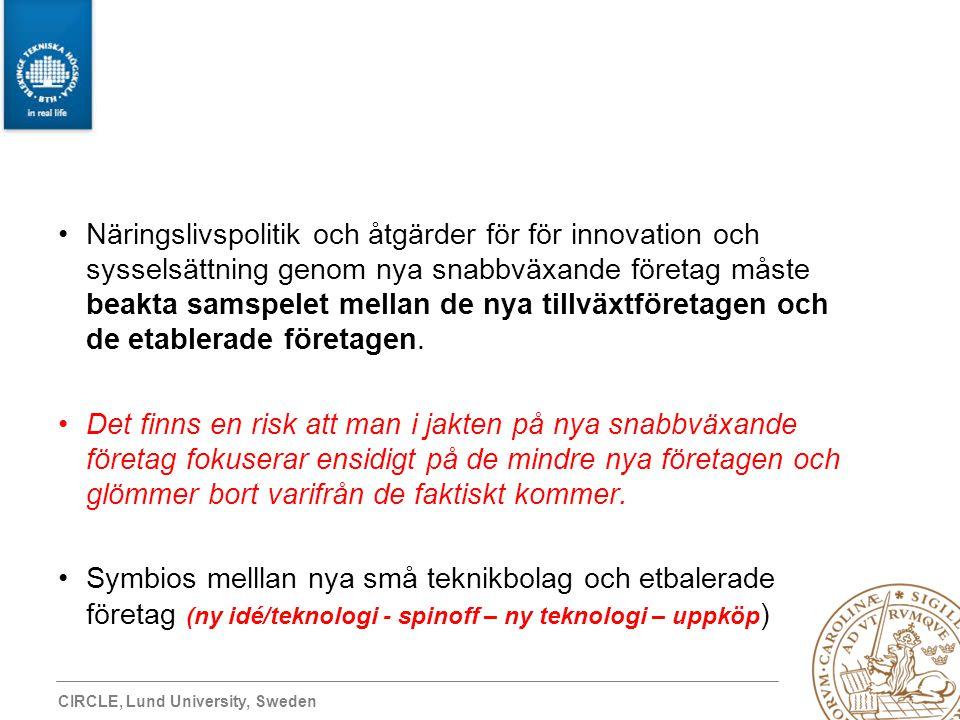 CIRCLE, Lund University, Sweden Näringslivspolitik och åtgärder för för innovation och sysselsättning genom nya snabbväxande företag måste beakta sams