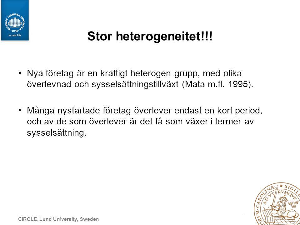 CIRCLE, Lund University, Sweden Stor heterogeneitet!!! Nya företag är en kraftigt heterogen grupp, med olika överlevnad och sysselsättningstillväxt (M