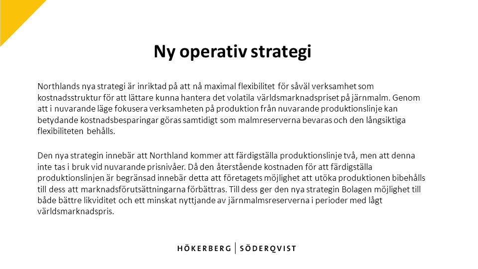 Ny operativ strategi Northlands nya strategi är inriktad på att nå maximal flexibilitet för såväl verksamhet som kostnadsstruktur för att lättare kunna hantera det volatila världsmarknadspriset på järnmalm.