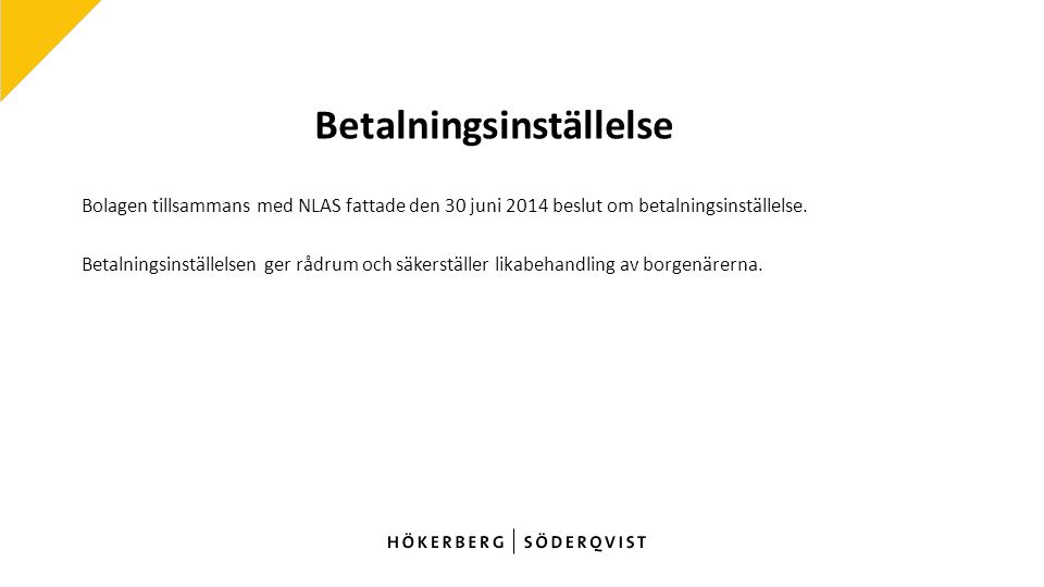 Betalningsinställelse Bolagen tillsammans med NLAS fattade den 30 juni 2014 beslut om betalningsinställelse.