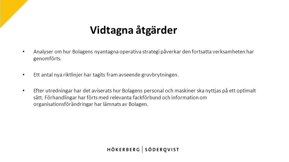 Vidtagna åtgärder Analyser om hur Bolagens nyantagna operativa strategi påverkar den fortsatta verksamheten har genomförts.