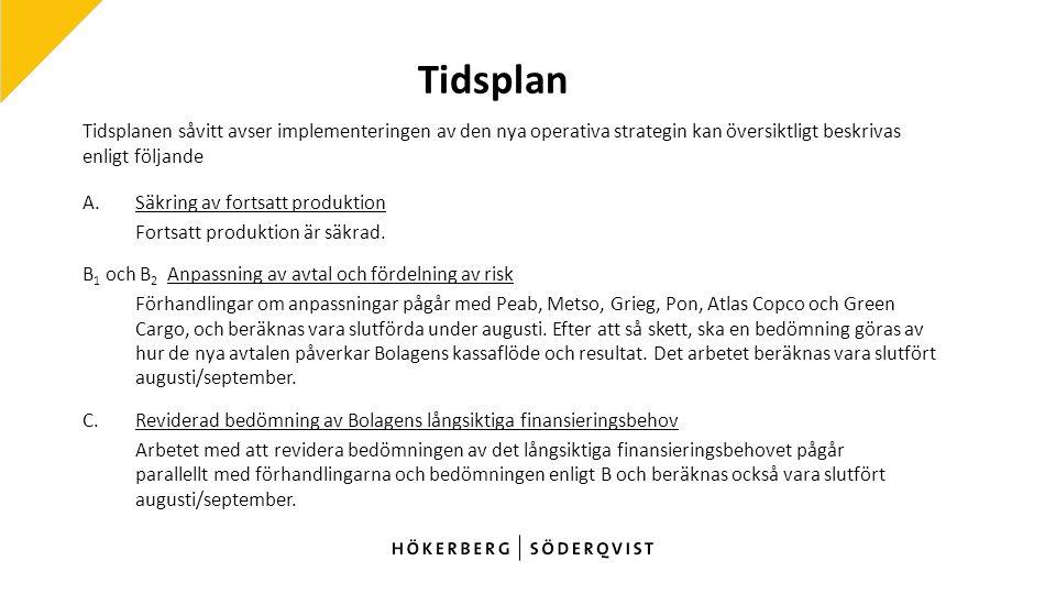 Tidsplan Tidsplanen såvitt avser implementeringen av den nya operativa strategin kan översiktligt beskrivas enligt följande A.
