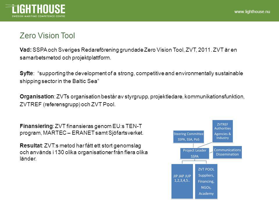 www.lighthouse.nu Zero Vision Tool Vad: SSPA och Sveriges Redareförening grundade Zero Vision Tool, ZVT, 2011.
