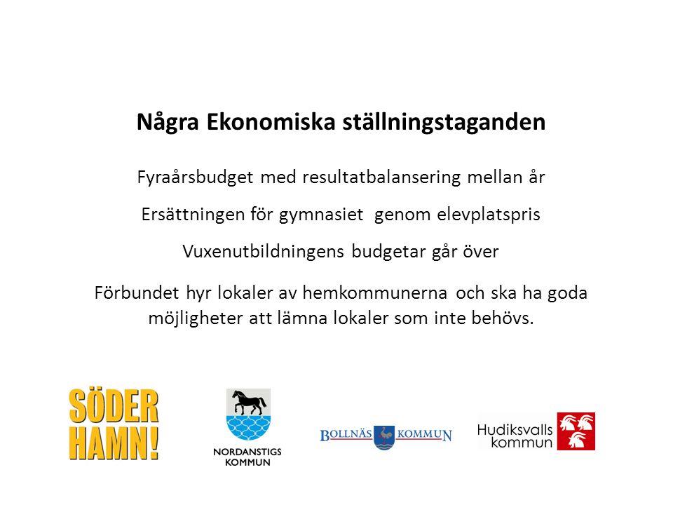 Några Ekonomiska ställningstaganden Fyraårsbudget med resultatbalansering mellan år Ersättningen för gymnasiet genom elevplatspris Vuxenutbildningens