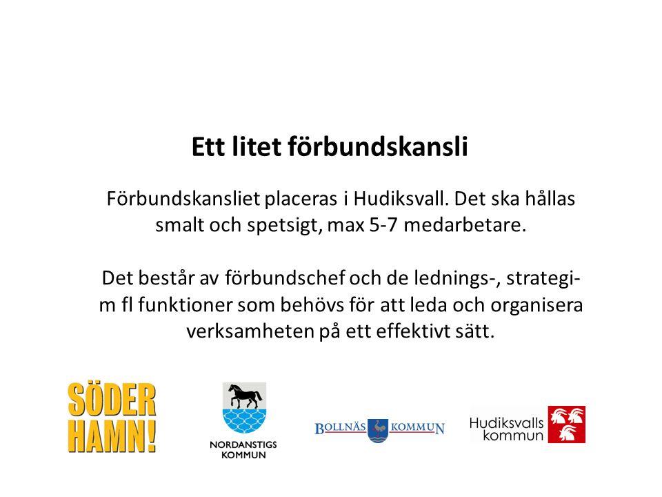 Förbundskansliet placeras i Hudiksvall. Det ska hållas smalt och spetsigt, max 5-7 medarbetare. Det består av förbundschef och de lednings-, strategi-