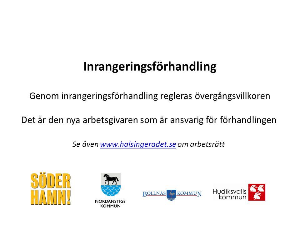 Genom inrangeringsförhandling regleras övergångsvillkoren Det är den nya arbetsgivaren som är ansvarig för förhandlingen Se även www.halsingeradet.se