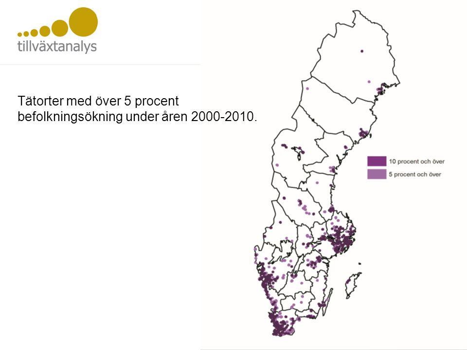 Tätorter med över 5 procent befolkningsökning under åren 2000-2010.