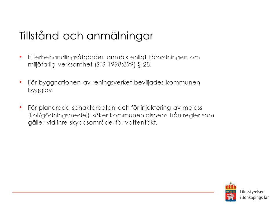 Tillstånd och anmälningar Efterbehandlingsåtgärder anmäls enligt Förordningen om miljöfarlig verksamhet (SFS 1998:899) § 28. För byggnationen av renin