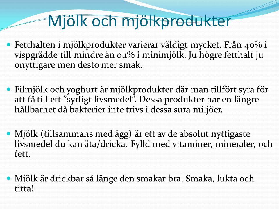 Mjölk och mjölkprodukter Fetthalten i mjölkprodukter varierar väldigt mycket.