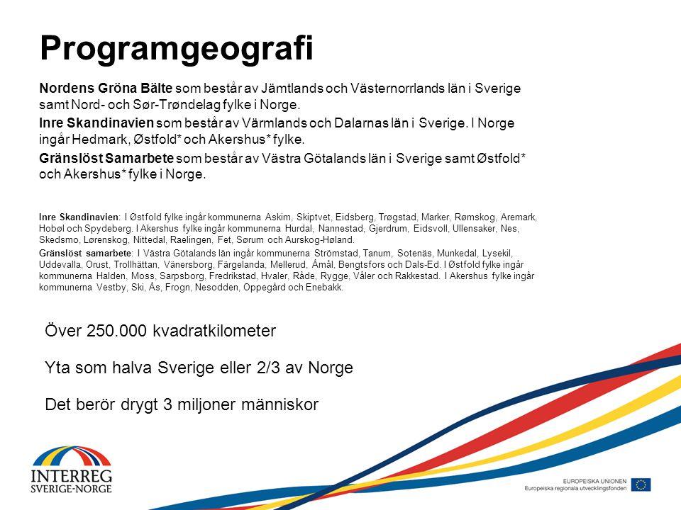 Programgeografi Nordens Gröna Bälte som består av Jämtlands och Västernorrlands län i Sverige samt Nord- och Sør-Trøndelag fylke i Norge.