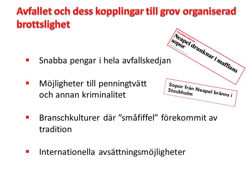 """ Snabba pengar i hela avfallskedjan  Möjligheter till penningtvätt och annan kriminalitet  Branschkulturer där """"småfiffel"""" förekommit av tradition"""