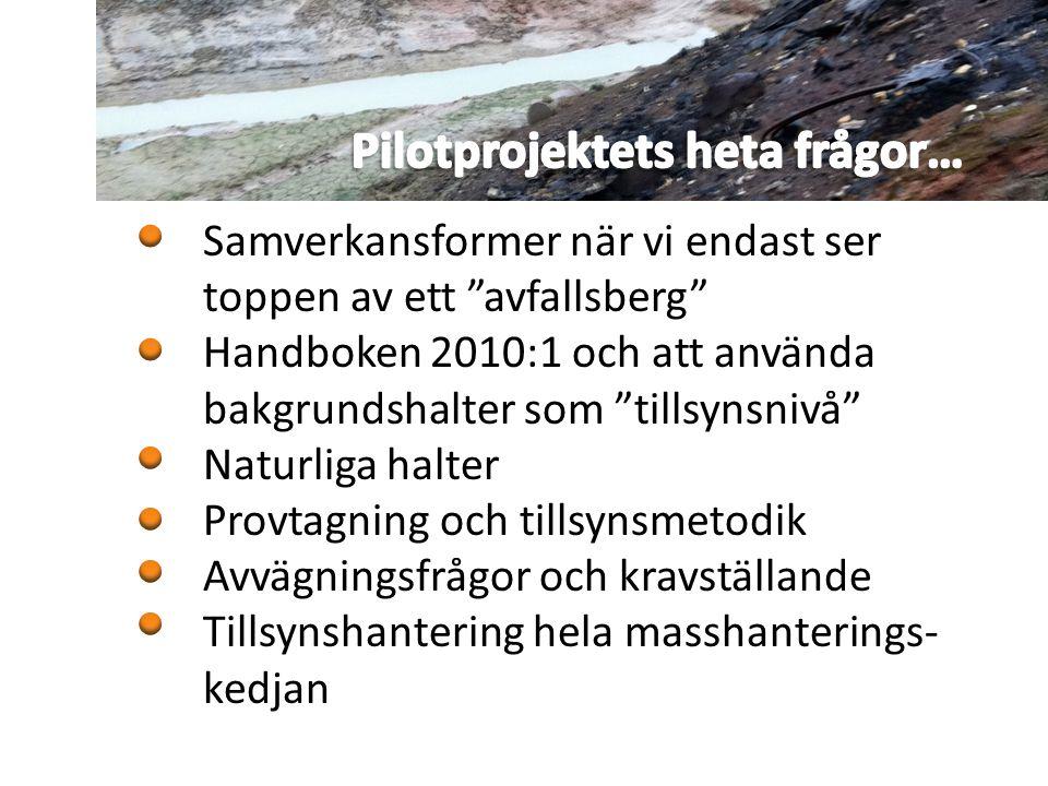 """Samverkansformer när vi endast ser toppen av ett """"avfallsberg"""" Handboken 2010:1 och att använda bakgrundshalter som """"tillsynsnivå"""" Naturliga halter Pr"""