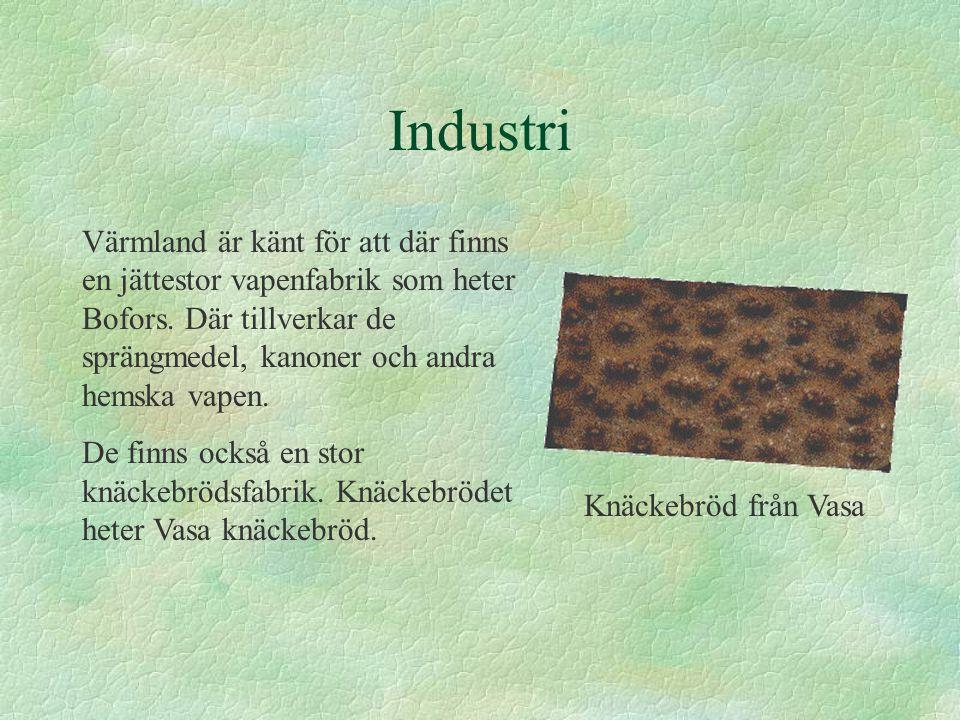Industri Värmland är känt för att där finns en jättestor vapenfabrik som heter Bofors. Där tillverkar de sprängmedel, kanoner och andra hemska vapen.