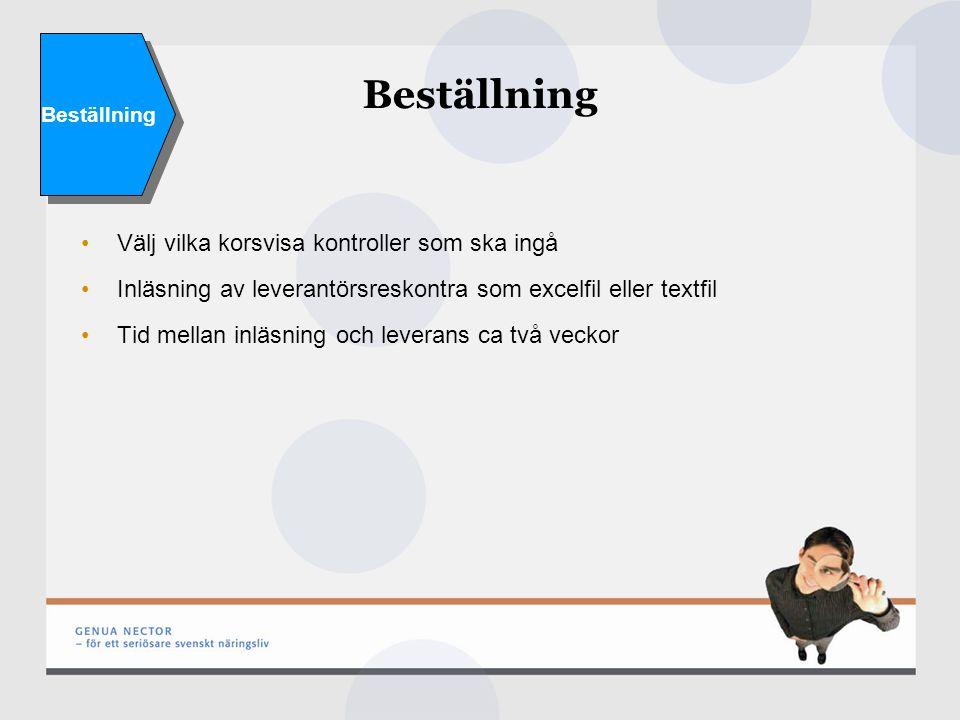 Beställning Välj vilka korsvisa kontroller som ska ingå Inläsning av leverantörsreskontra som excelfil eller textfil Tid mellan inläsning och leverans ca två veckor Beställning