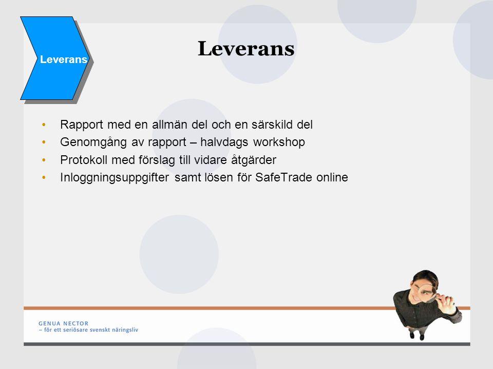 Leverans Rapport med en allmän del och en särskild del Genomgång av rapport – halvdags workshop Protokoll med förslag till vidare åtgärder Inloggningsuppgifter samt lösen för SafeTrade online Leverans