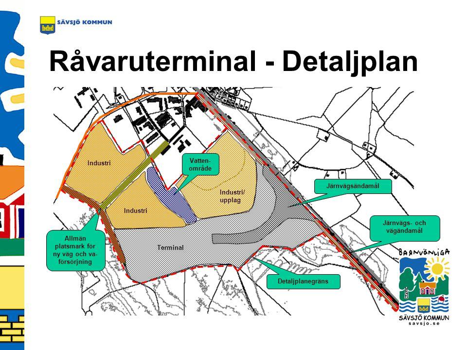 Råvaruterminal - Detaljplan Allmän platsmark för ny väg och va- försörjning Terminal Industri/ upplag Industri Järnvägsändamål Detaljplanegräns Vatten- område Järnvägs- och vägändamål