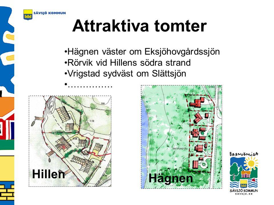 Attraktiva tomter Hillen Hägnen Hägnen väster om Eksjöhovgårdssjön Rörvik vid Hillens södra strand Vrigstad sydväst om Slättsjön ……………