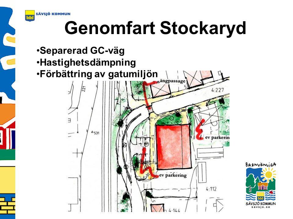 Genomfart Stockaryd Separerad GC-väg Hastighetsdämpning Förbättring av gatumiljön