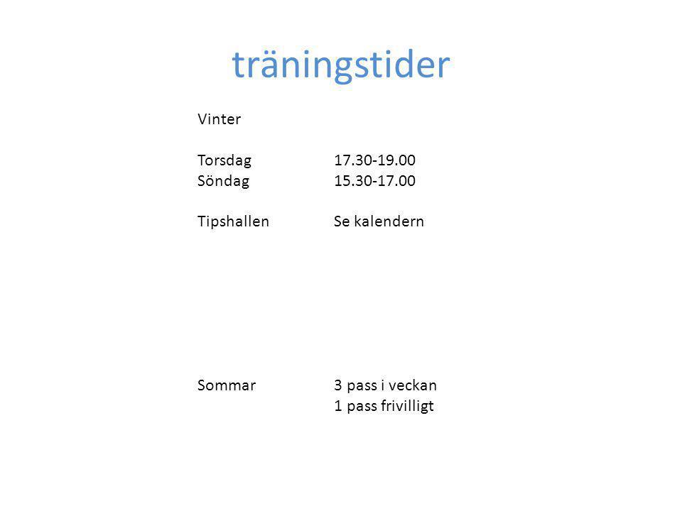 träningstider Vinter Torsdag17.30-19.00 Söndag15.30-17.00 TipshallenSe kalendern Sommar3 pass i veckan 1 pass frivilligt