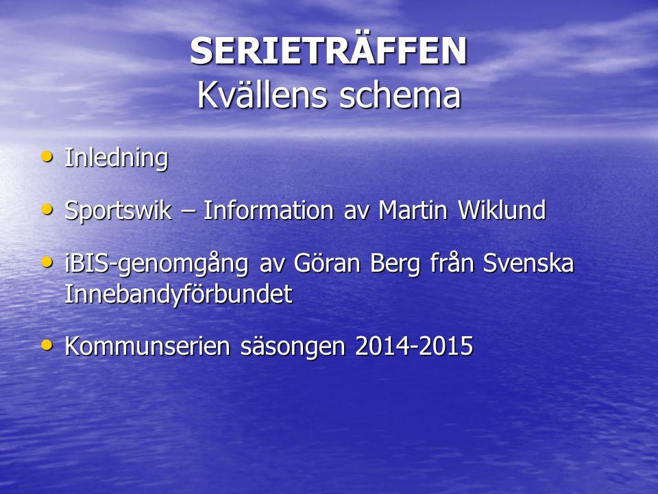 SERIETRÄFFEN Kvällens schema Inledning Inledning Sportswik – Information av Martin Wiklund Sportswik – Information av Martin Wiklund iBIS-genomgång av