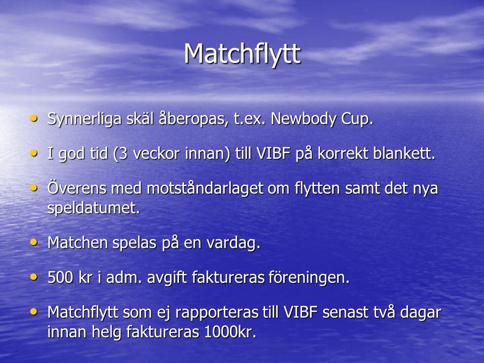 Matchflytt Synnerliga skäl åberopas, t.ex. Newbody Cup. Synnerliga skäl åberopas, t.ex. Newbody Cup. I god tid (3 veckor innan) till VIBF på korrekt b
