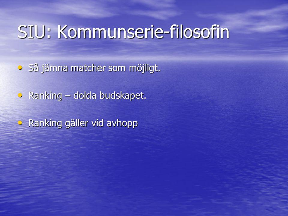 SIU: Kommunserie-filosofin Så jämna matcher som möjligt. Så jämna matcher som möjligt. Ranking – dolda budskapet. Ranking – dolda budskapet. Ranking g