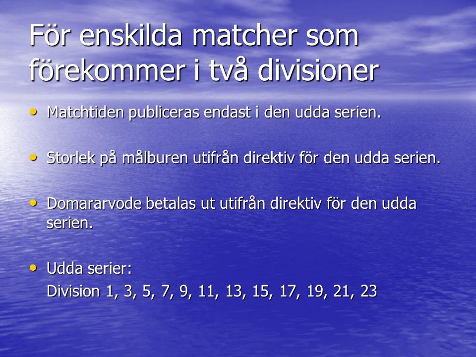 För enskilda matcher som förekommer i två divisioner Matchtiden publiceras endast i den udda serien. Matchtiden publiceras endast i den udda serien. S