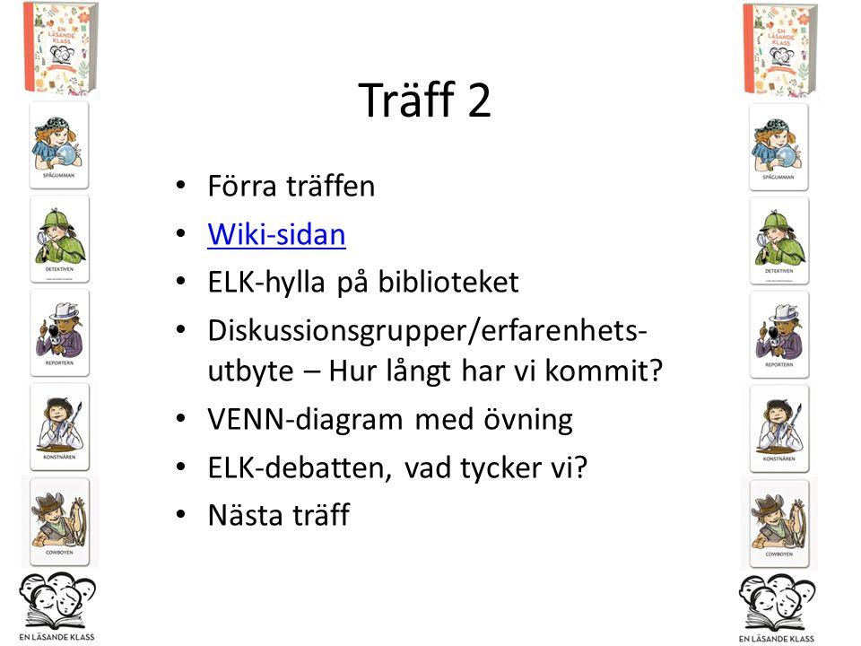 Träff 2 Förra träffen Wiki-sidan ELK-hylla på biblioteket Diskussionsgrupper/erfarenhets- utbyte – Hur långt har vi kommit? VENN-diagram med övning EL