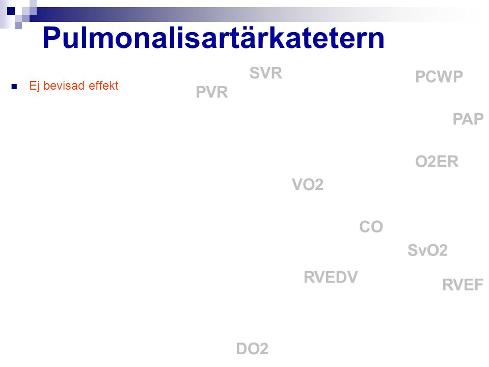 Pulmonalisartärkatetern Ej bevisad effekt CO PCWP PAP SvO2 SVR O2ER VO2 DO2 PVR RVEF RVEDV