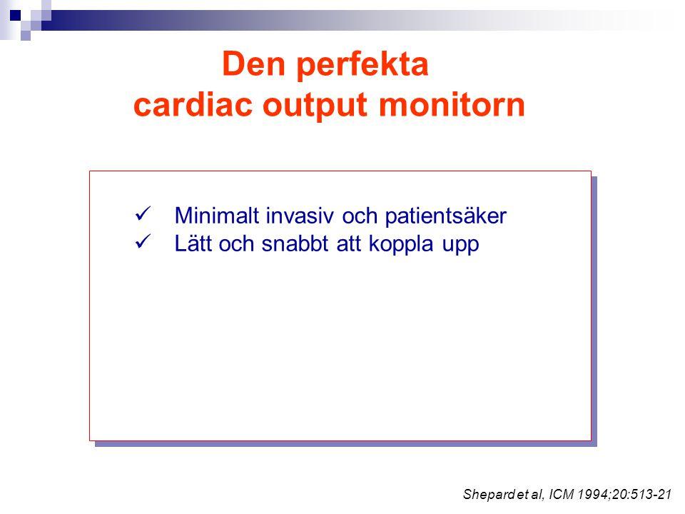 Den perfekta cardiac output monitorn Minimalt invasiv och patientsäker Lätt och snabbt att koppla upp Shepard et al, ICM 1994;20:513-21