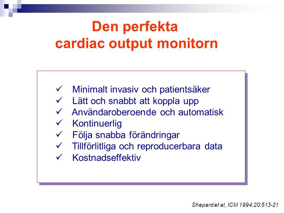 Den perfekta cardiac output monitorn Minimalt invasiv och patientsäker Lätt och snabbt att koppla upp Användaroberoende och automatisk Kontinuerlig Fö