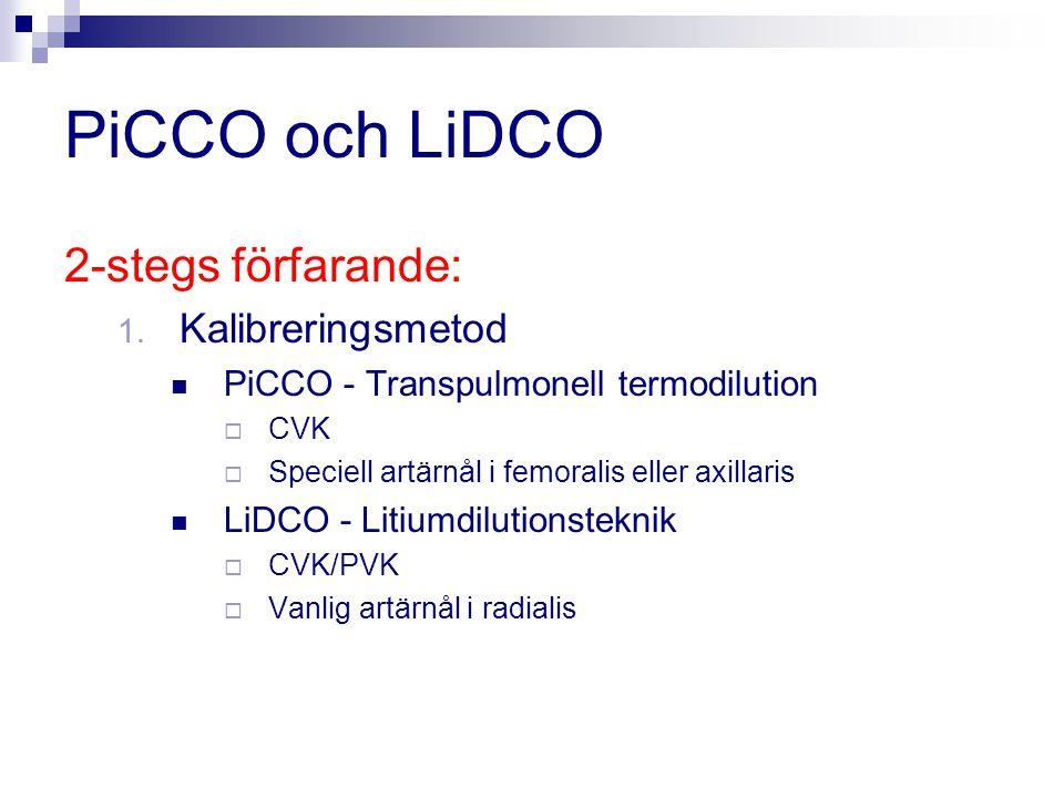 PiCCO och LiDCO 2-stegs förfarande: 1. Kalibreringsmetod PiCCO - Transpulmonell termodilution  CVK  Speciell artärnål i femoralis eller axillaris Li