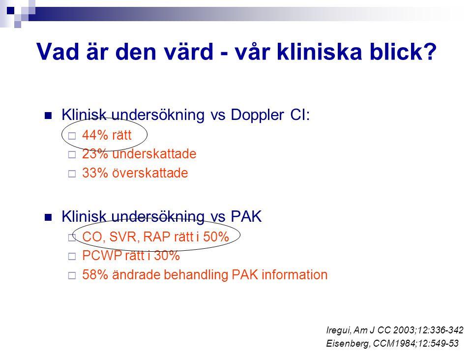 Vad är den värd - vår kliniska blick? Klinisk undersökning vs Doppler CI:  44% rätt  23% underskattade  33% överskattade Klinisk undersökning vs PA