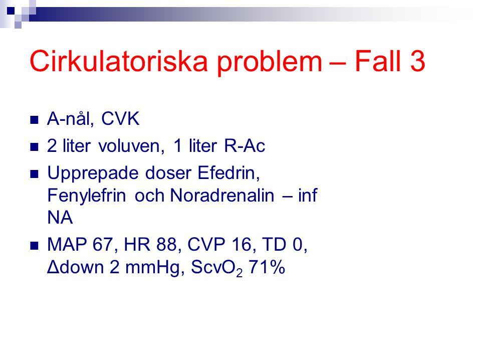 Cirkulatoriska problem – Fall 3 A-nål, CVK 2 liter voluven, 1 liter R-Ac Upprepade doser Efedrin, Fenylefrin och Noradrenalin – inf NA MAP 67, HR 88,