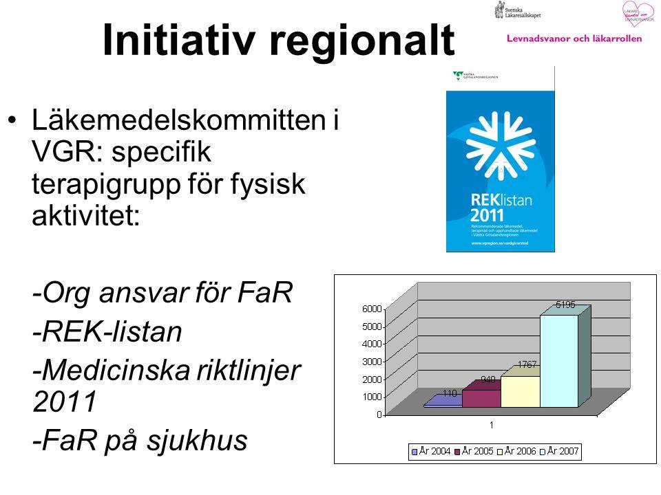 Initiativ regionalt Läkemedelskommitten i VGR: specifik terapigrupp för fysisk aktivitet: -Org ansvar för FaR -REK-listan -Medicinska riktlinjer 2011