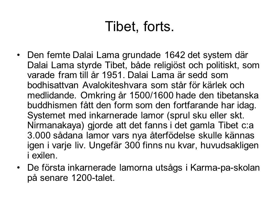 Tibet, forts. Den femte Dalai Lama grundade 1642 det system där Dalai Lama styrde Tibet, både religiöst och politiskt, som varade fram till år 1951. D