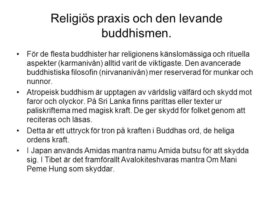 Religiös praxis och den levande buddhismen. För de flesta buddhister har religionens känslomässiga och rituella aspekter (karmanivån) alltid varit de