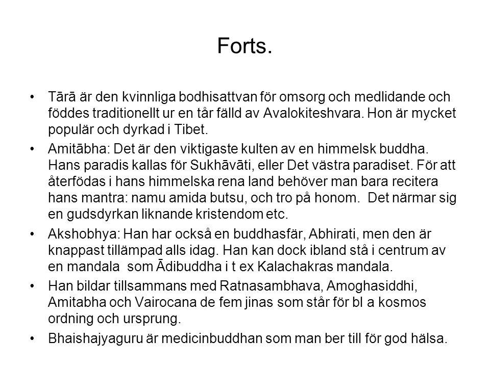 Forts. Tārā är den kvinnliga bodhisattvan för omsorg och medlidande och föddes traditionellt ur en tår fälld av Avalokiteshvara. Hon är mycket populär
