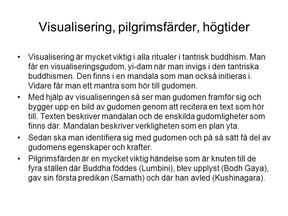 Visualisering, pilgrimsfärder, högtider Visualisering är mycket viktig i alla ritualer i tantrisk buddhism. Man får en visualiseringsgudom, yi-dam när