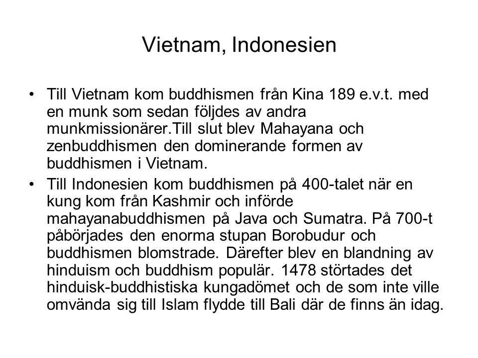Vietnam, Indonesien Till Vietnam kom buddhismen från Kina 189 e.v.t. med en munk som sedan följdes av andra munkmissionärer.Till slut blev Mahayana oc
