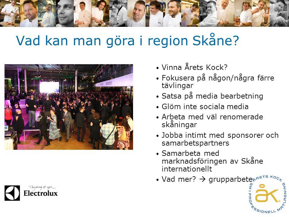 Vad kan man göra i region Skåne. Vinna Årets Kock.