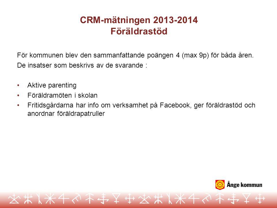 CRM-mätningen 2013-2014 Föräldrastöd För kommunen blev den sammanfattande poängen 4 (max 9p) för båda åren. De insatser som beskrivs av de svarande :