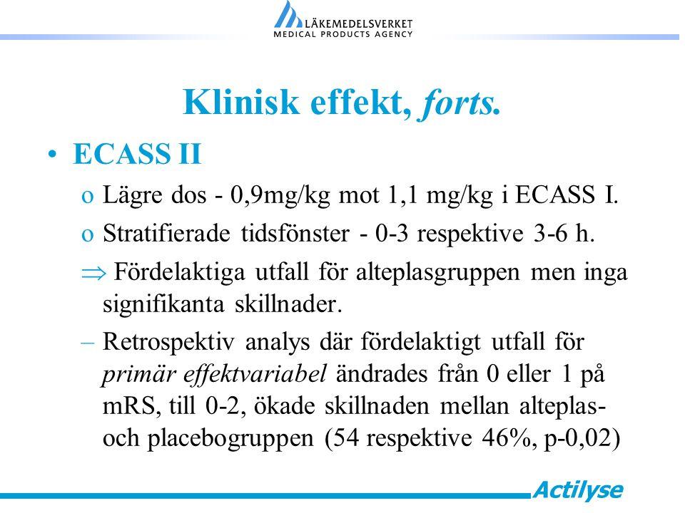 Actilyse Klinisk effekt, forts.ECASS II oLägre dos - 0,9mg/kg mot 1,1 mg/kg i ECASS I.